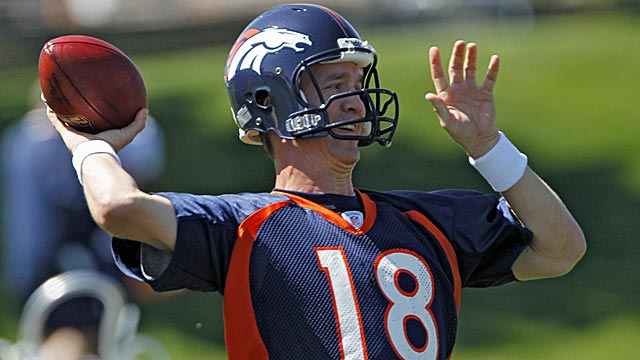 Manning throws during minicamp at the Broncos'  OTA workouts Monday. (AP)