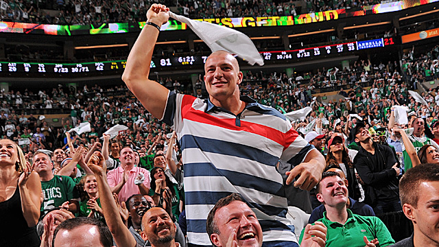 Never shy about taking his shirt off, Rob Gronkowski will show off his assets for ESPN. (Getty Images)