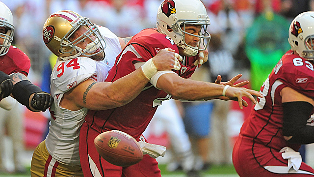 Justin Smith is a steal at $6.375M, while Kevin Kolb hasn't played up to his contract in Arizona. (US Presswire)