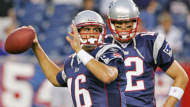 The Pats and Tom Brady (right) had no idea how big Matt Cassel would become in 2008. (Getty Images)