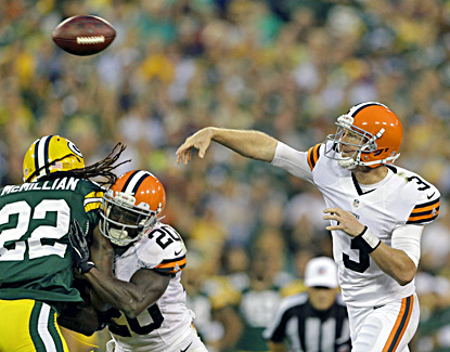 Browns rookie Brandon Weeden plays the first half and completes 12 of 20 for 118 yards. (AP)