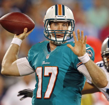 In his first start, Ryan Tannehill completes 11 of 23 passes for 100 yards and leads one touchdown drive.  (AP)