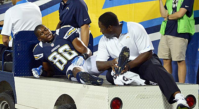 Vincent Brown's injury, suffered on a touchdown catch, is a big blow for the Chargers. (US Presswire)
