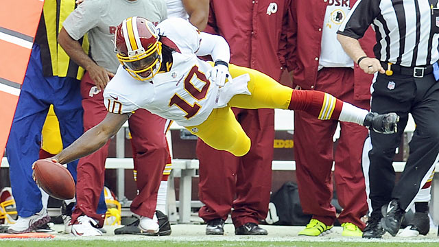 RG3 showcases his skills but the talented rookie still has plenty of work to do. (AP)