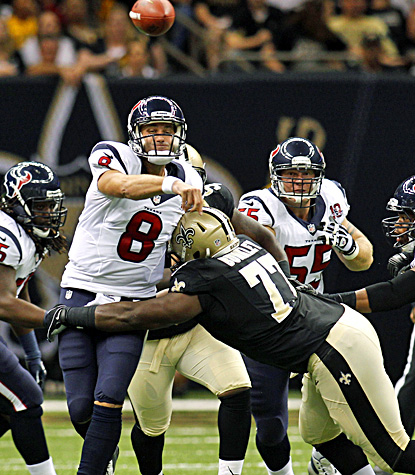 Matt Schaub completes 15 of 18 passes for 194 yards and a touchdown in the Texans' preseason loss to the Saints. (AP)