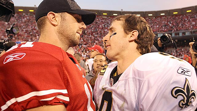 Alex Smith and Drew Brees are out to prevent the letdowns Prisco is predicting for their teams. (Getty Images)