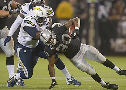 Corey Liuget and the Chargers keep Darren McFadden and the Raiders out of the end zone until the final minute.  (US Presswire)