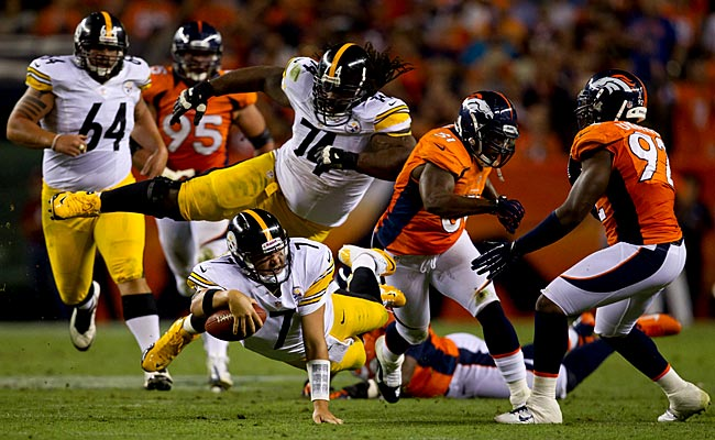 Ben Roethlisberger comes up short of the sticks in Sunday's game vs. the Broncos. (Getty Images)