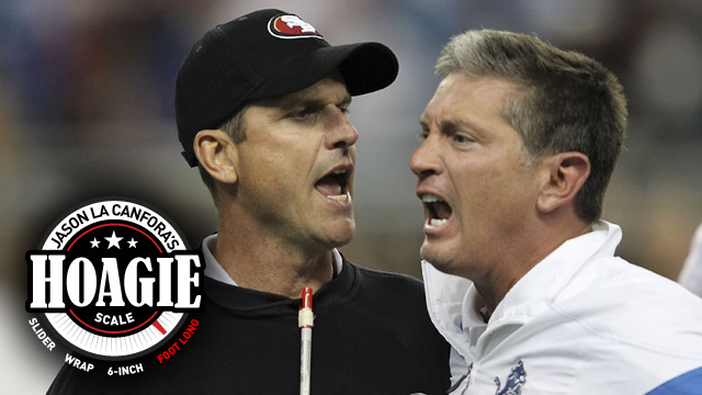 The last time the 49ers and Lions met, their coaches had to be separated. (Getty Images)