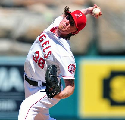 Jered Weaver comes up big for the Angels by giving up just two hits over seven innings with nine strikeouts.  (US Presswire)