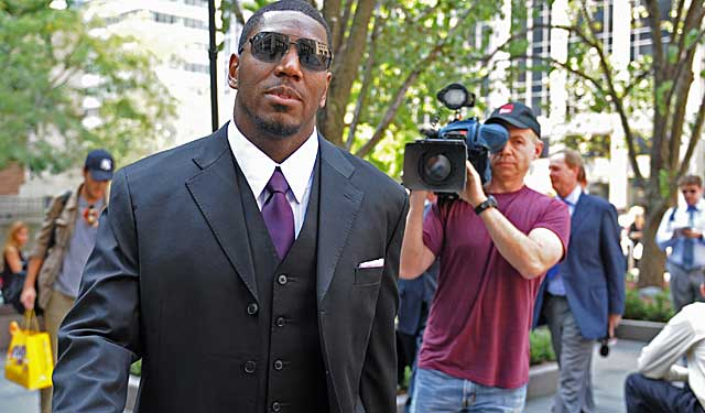 Jonathan Vilma arrives for his meeting with Roger Goodell on Monday. (AP)