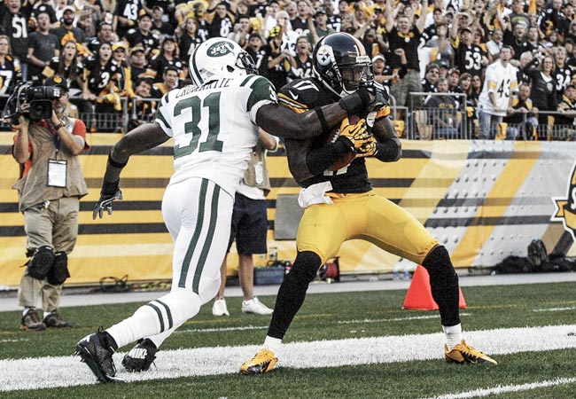 Mike Wallace catches a 37-yard TD pass in front of Jets CB Antonio Cromartie. (US Presswire)