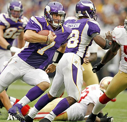 Christian Ponder and the Vikings do what division rivals in Detroit and Green Bay couldn't -- beat the 49ers.  (US Presswire)