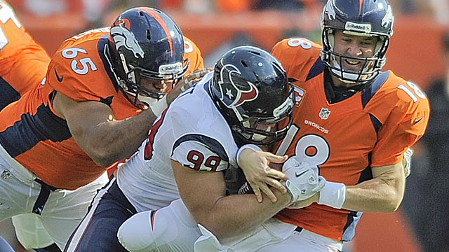 J.J. Watt gave Peyton Manning and the Broncos a hard time Sunday. (AP)