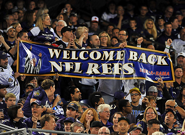 Fans in Baltimore for the Browns-Ravens game Thursday welcomed the return of NFL officials. (Getty Images)
