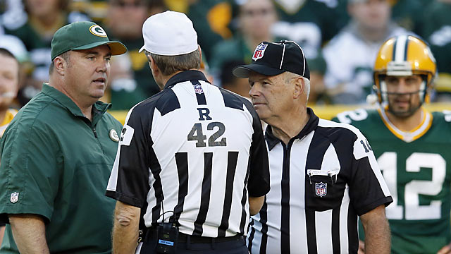 Deja vu? Mike McCarthy and the Packers deal with bad game officiating for the second straight week. (AP)