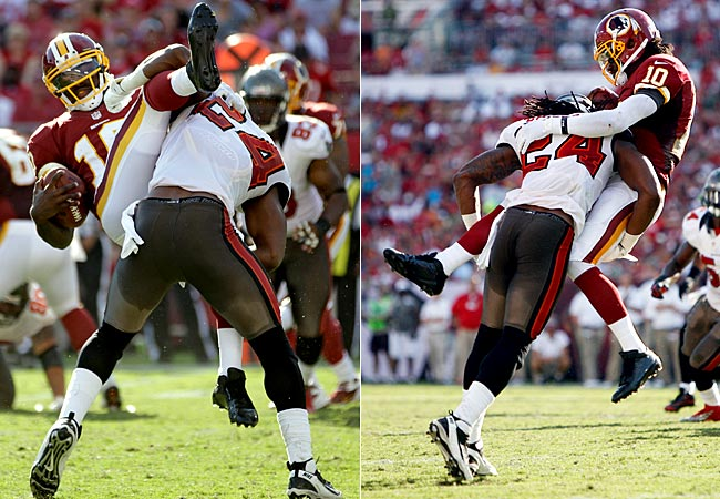 Buccaneers safety Mark Barron tackles Redskins quarterback Robert Griffin III. (AP/US Presswire)