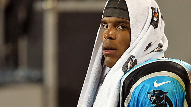 Cam Newton's look during a thrashing from the Giants fired up his critics. (Getty Images)