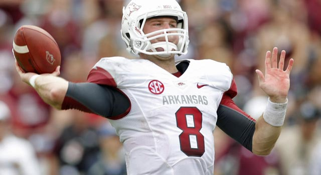 Tyler Wilson's stock is falling due to his struggles at Arkansas this season. (US Presswire)