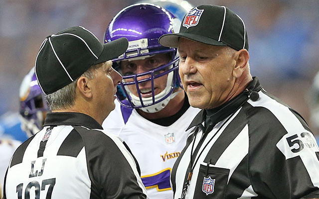 Chad Greenway, talking to officials during Sunday's game, says he's glad nobody was hurt. (Getty Images)