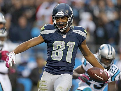 Seattle's Golden Tate exults after scoring what turns out to be the winning touchdown in the third quarter.  (AP)