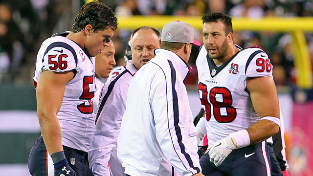 Losing Cushing (left) won't be easy for the Texans, who will be without their 2011 team MVP. (US Presswire)