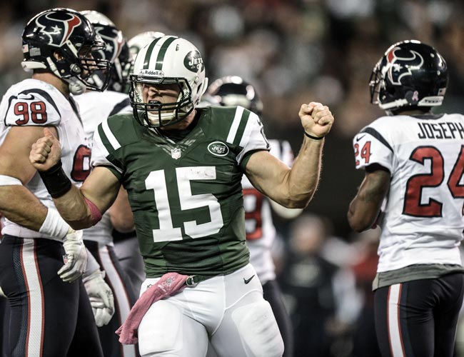 Jets QB Tim Tebow reacts during the game against the Texans. (US Presswire)