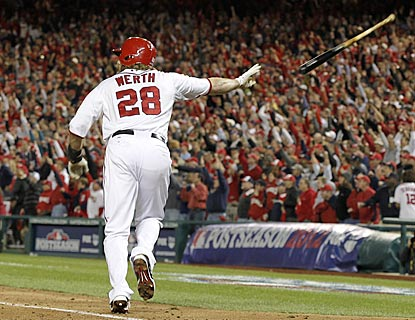 Jayson Werth makes his first postseason home run with Washington count -- a walk-off that electrifies Nationals Park.  (AP)