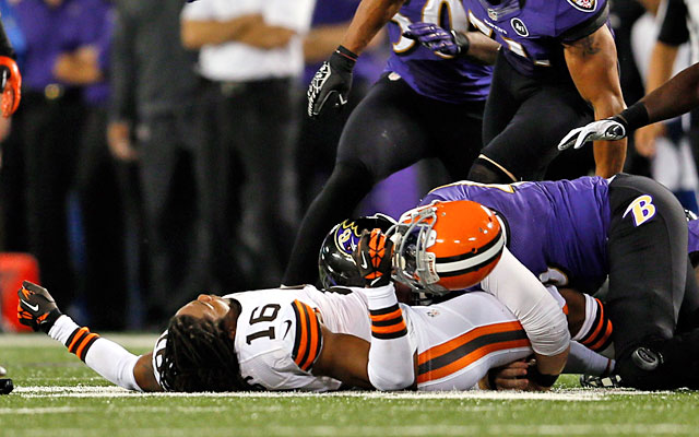 Browns receiver Josh Cribbs lost his helmet on a head-shot hit against the Ravens. (Getty Images)