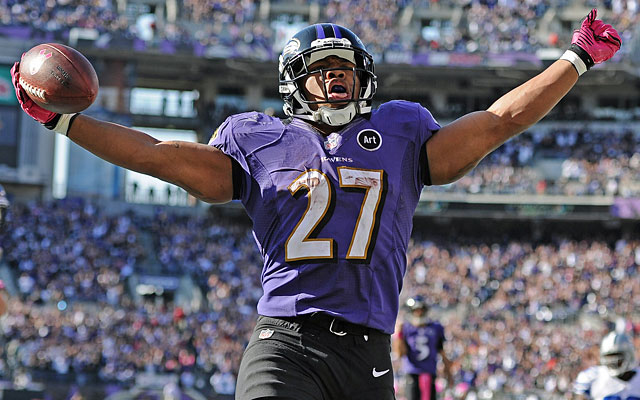 Ray Rice scores twice to help the Ravens win again despite another poor defensive performance. (Getty Images)