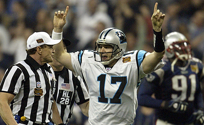 Despite losing to the Patriots, Delhomme set a Super Bowl record. (Getty Images)