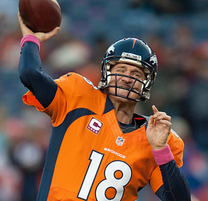 Peyton Manning throws three touchdowns against the Saints, upping his total to 17 on the season. (Getty Images)