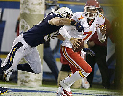 San Diego's Jarret Johnson sacks Chiefs QB Matt Cassel in the end zone, resulting in a touchdown for the Chargers. (AP)