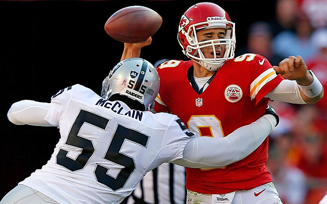 Brady Quinn says he already had a concussion and never saw Rolando McClain on this sack. (Getty Images)