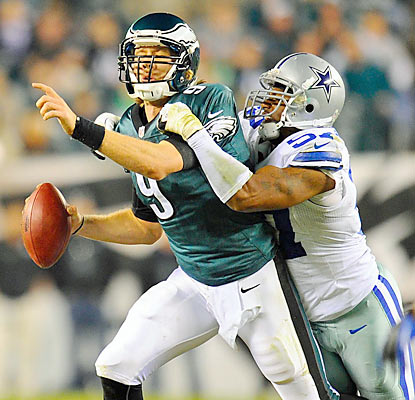 Rookie Nick Foles steps in for the concussed Michael Vick, but struggles against the Cowboys' aggressive defensive unit. (US Presswire)