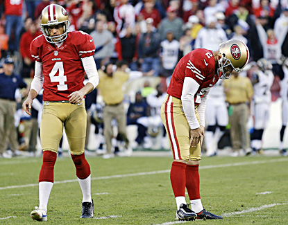 Niners kicker David Akers (right) reacts after missing a 33-yard field goal attempt during overtime against the Rams. (AP)
