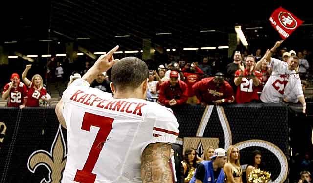 Colin Kaepernick is clearly popular with Niners'  fans after a big win at New Orleans. (US Presswire)