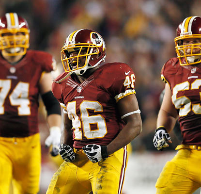 Rookie Alfred Morris, who runs for 100-plus yards against the Giants twice this season, surpasses 1,000 yards on the season. (Getty Images)