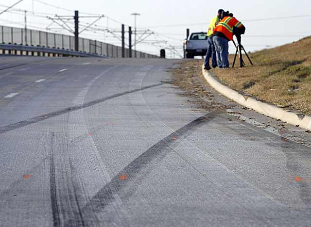 Skid marks show the path Brent's vehicle took in the crash that killed his teammate. (AP)