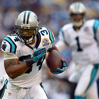 DeAngelo Williams catches a 45-yard pass from Cam Newton and races to the end zone for a score. (US Presswire)