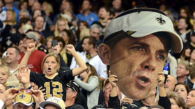Suspended all season for his alleged bounty role, Sean Payton only got this close to the games. (US Presswire)