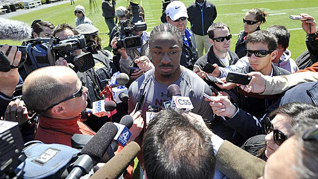 Everyone wanted to see and hear from Marcus Lattimore on Wednesday. (AP)