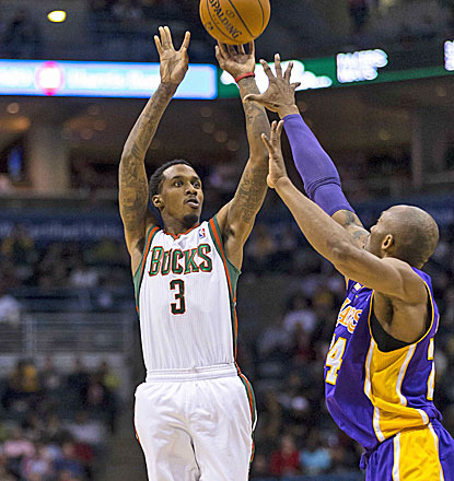 Brandon Jennings rises up for a jumper as the Bucks knock off the struggling Lakers.  (USATSI)