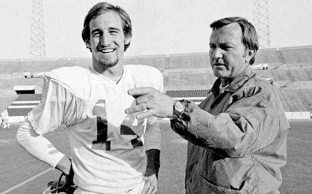 Quarterback Steve Grogan and Chuck Fairbanks in 1976, preparing for the Pats' first playoff game in 13 years. (AP)
