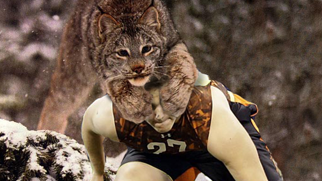 Luke Joeckel and a Canadian lynx. (An original CBSSports.com joint)