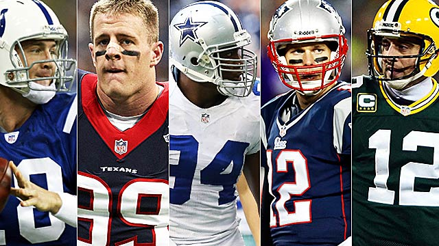 Familiar faces: Peyton Manning, J.J. Watt, DeMarcus Ware, Tom Brady and Aaron Rodgers. (USATSI)