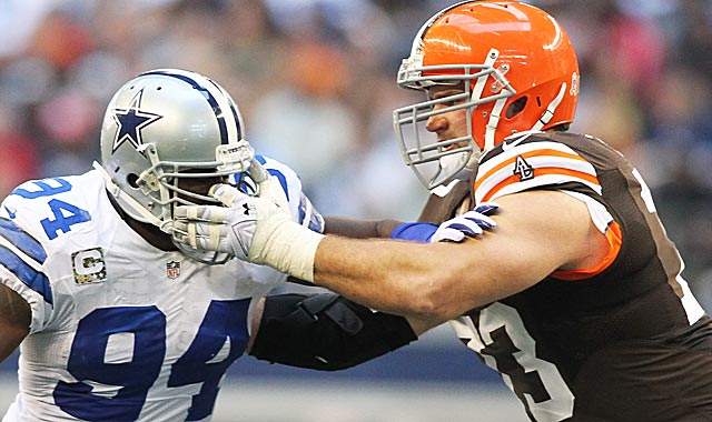 Joe Thomas (right) will get in a pass-rusher's face; just as DeMarcus Ware. (USATSI)