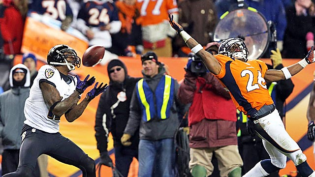 Jacoby Jones gathers in the pass that left Rahim Moore and Broncos fans in pain. (Getty Images)