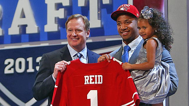 Eric Reid shared his big draft moment April 25 with his daughter LeiLani. (USATSI)