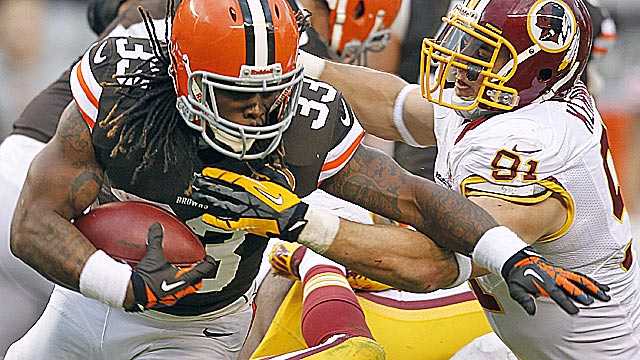 Cleveland's Trent Richardson had 267 carries last season as a rookie and should get 50 more. (USATSI)